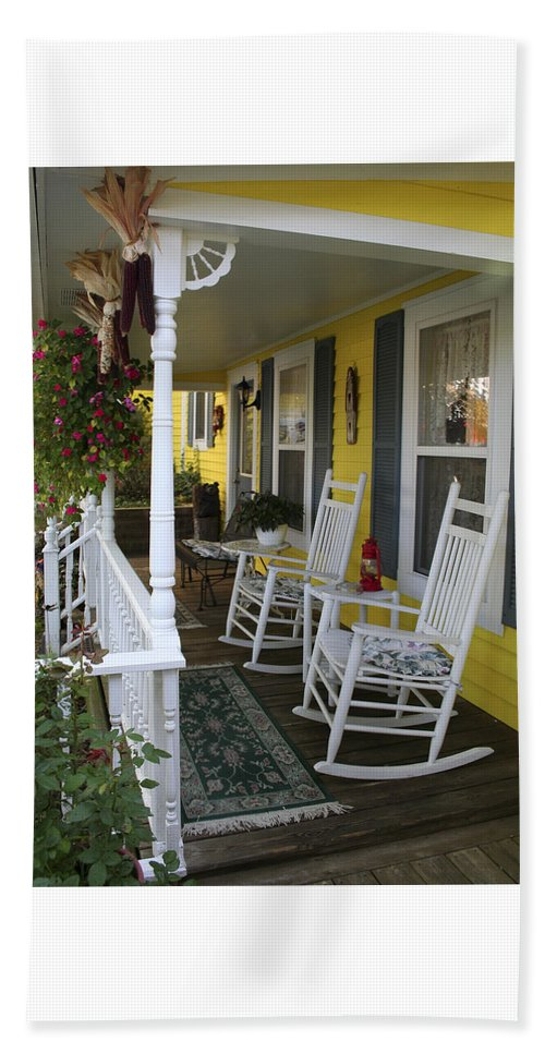Rocking Chair Beach Towel featuring the photograph Rockers On The Porch by Margie Wildblood