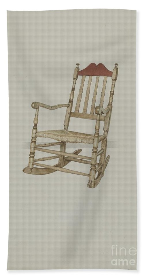Beach Towel featuring the drawing Rocking Chair by Henry Murphy