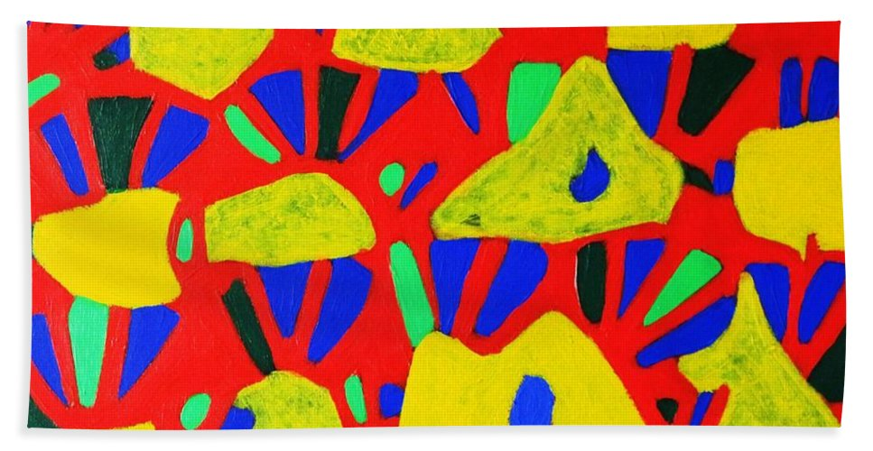 Eunice Broderick Beach Towel featuring the painting Rocks And Flowers by Eunice Broderick