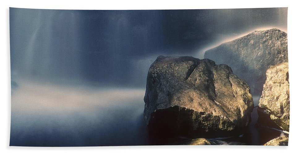 Rocks Beach Towel featuring the photograph Rocks And Waterfalls by D'Arcy Evans