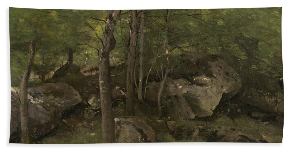 Beach Towel featuring the painting Rocks In The Forest Of Fontainebleau by Jean-baptiste-camille Corot