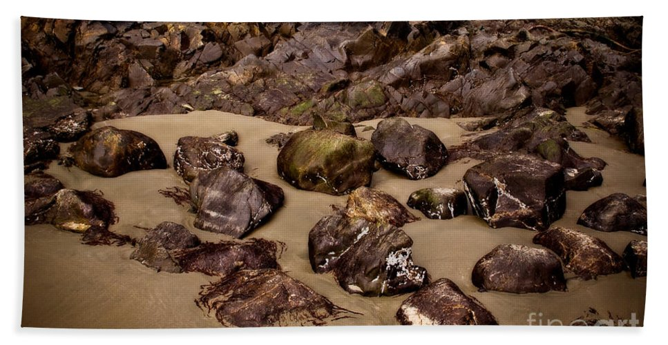 Beach Beach Towel featuring the photograph Rocks On The Beach by Venetta Archer