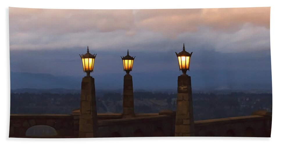 Rocky Butte Lamps Beach Towel featuring the photograph Rocky Butte Lamps by Wes and Dotty Weber
