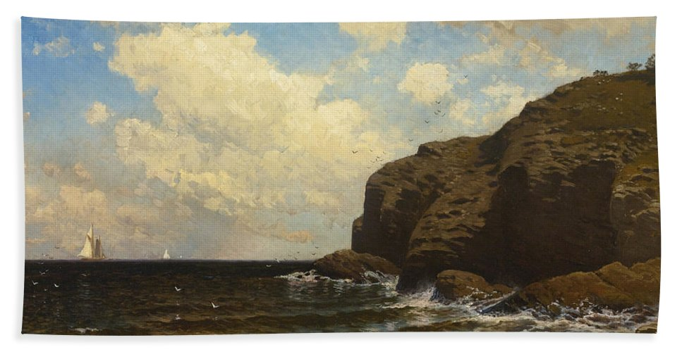 Alfred Thompson Bricher Beach Towel featuring the painting Rocky Coast With Breaking Wave by Alfred Thompson Bricher