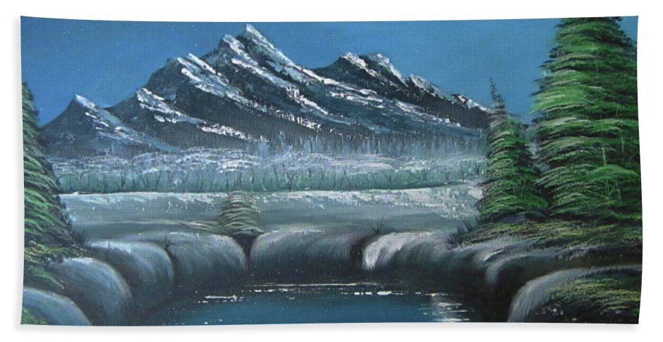 Beach Towel featuring the painting Rocky Mountain Fullmoon by Joey Victorino
