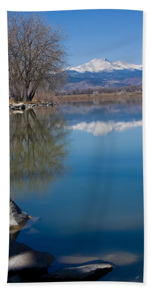 Twin Peeks Beach Towel featuring the photograph Rocky Mountain Reflections by James BO Insogna