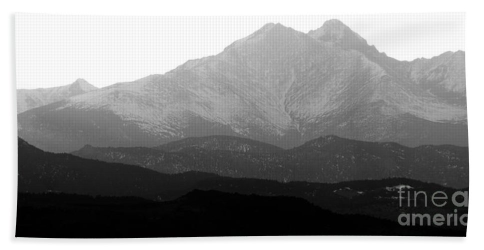 Twin Peaks Beach Towel featuring the photograph Rocky Mountain Twin Peaks Bw by James BO Insogna