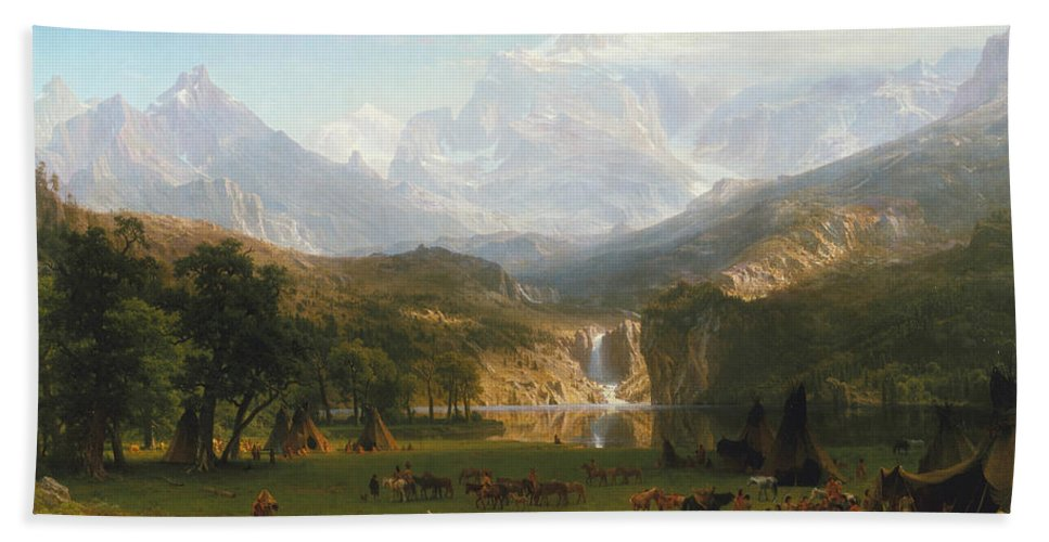 Rocky Mountains Beach Towel featuring the painting Rocky Mountains by Albert Bierstadt