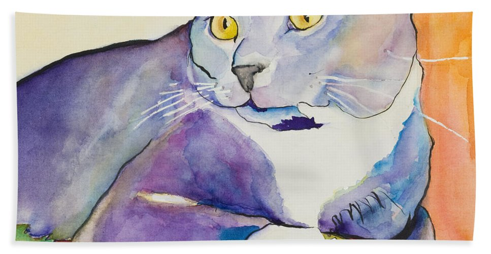 Pat Saunders-white Beach Towel featuring the painting Rocky by Pat Saunders-White