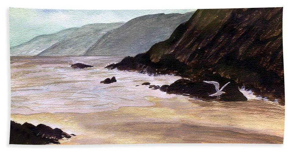 2d Beach Towel featuring the painting Rocky Shore by Brian Wallace