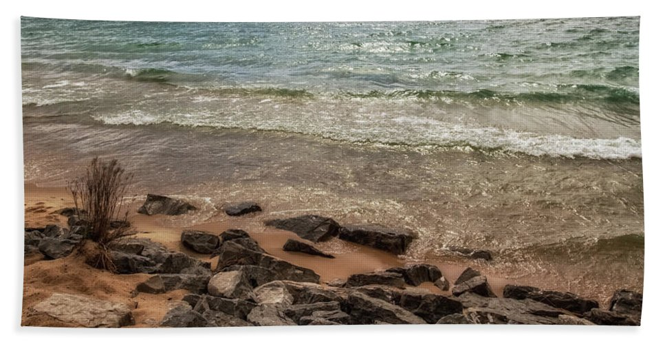 Rocks Beach Towel featuring the photograph Rocky Shore by Heather Kenward