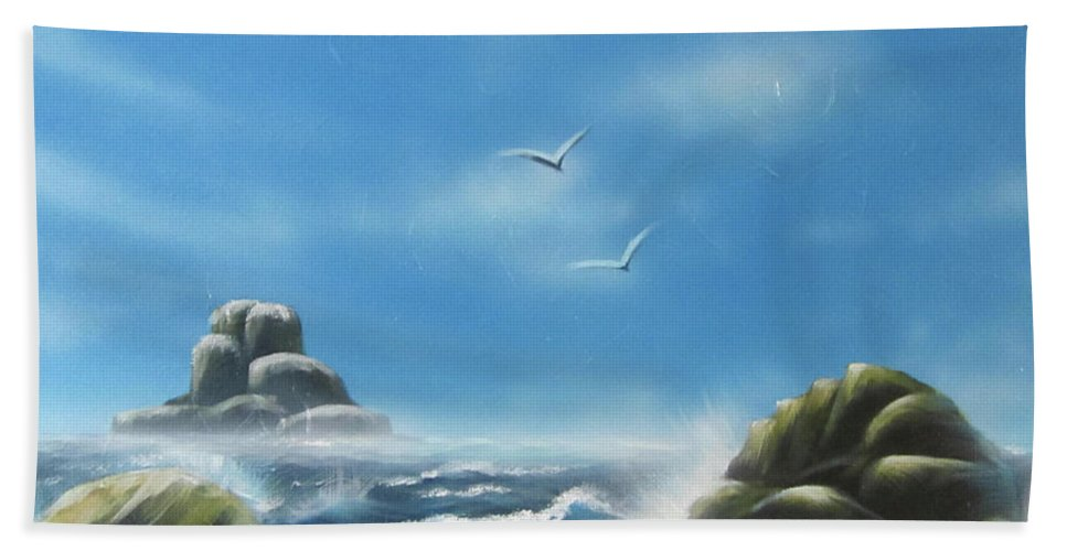 Beach Towel featuring the painting Rocky Shores by Joey Victorino