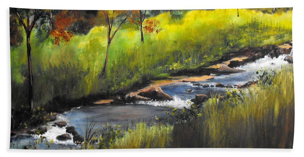 Landscape Beach Towel featuring the painting Rocky Stream by Ruth Palmer