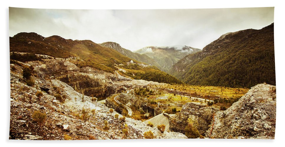 Rural Beach Towel featuring the photograph Rocky Valley Mountains by Jorgo Photography - Wall Art Gallery