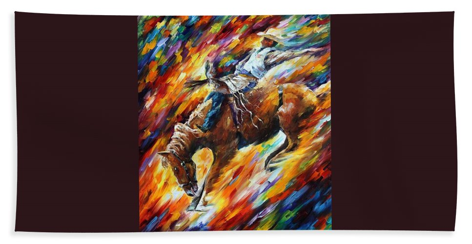 Afremov Beach Towel featuring the painting Rodeo - Dangerous Games by Leonid Afremov