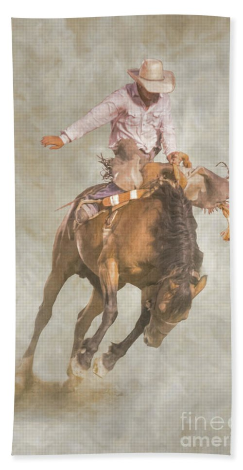 Rodeo Bronco Riding Beach Towel featuring the digital art Rodeo Bronco Riding Two by Randy Steele