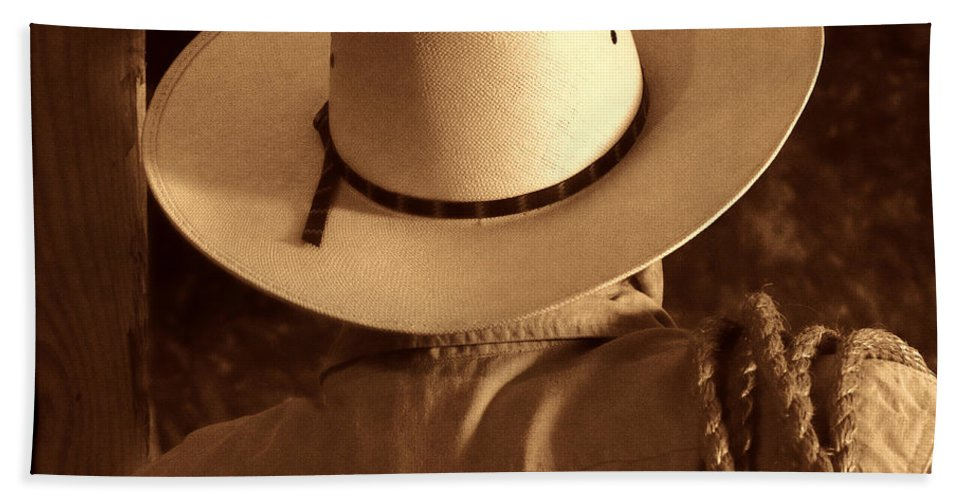 Cowboy Beach Towel featuring the photograph Rodeo Cowboy by American West Legend By Olivier Le Queinec