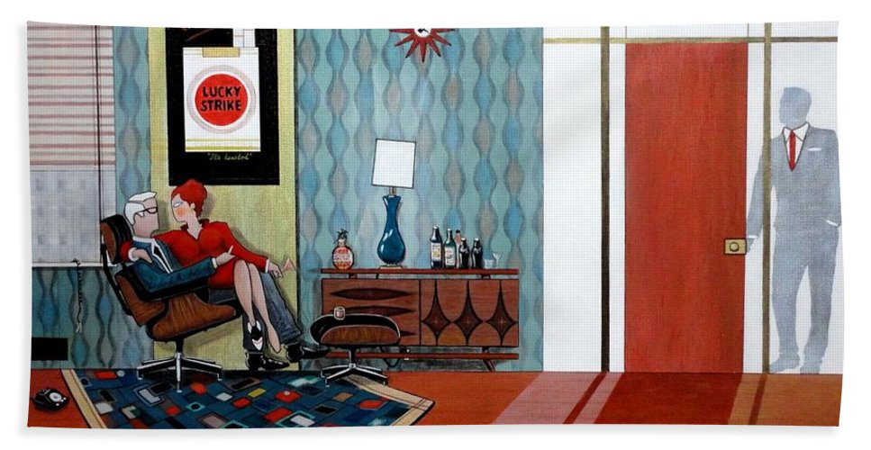 John Lyes Beach Towel featuring the painting Roger Sterling And Joan Sitting In An Eames by John Lyes