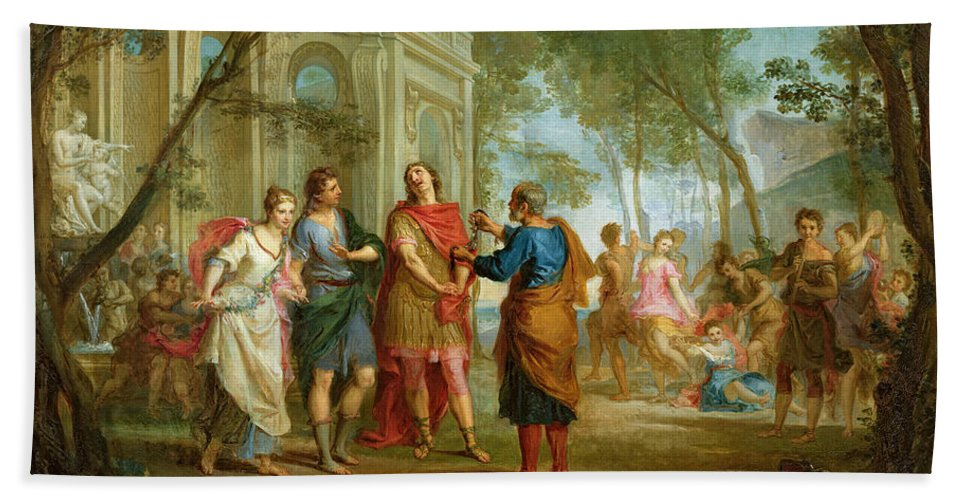 Roland Beach Towel featuring the painting Roland Learns Of The Love Of Angelica And Medoro by Louis Galloche
