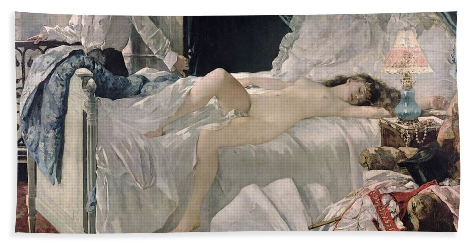 Gervex Beach Towel featuring the painting Rolla by Henri Gervex