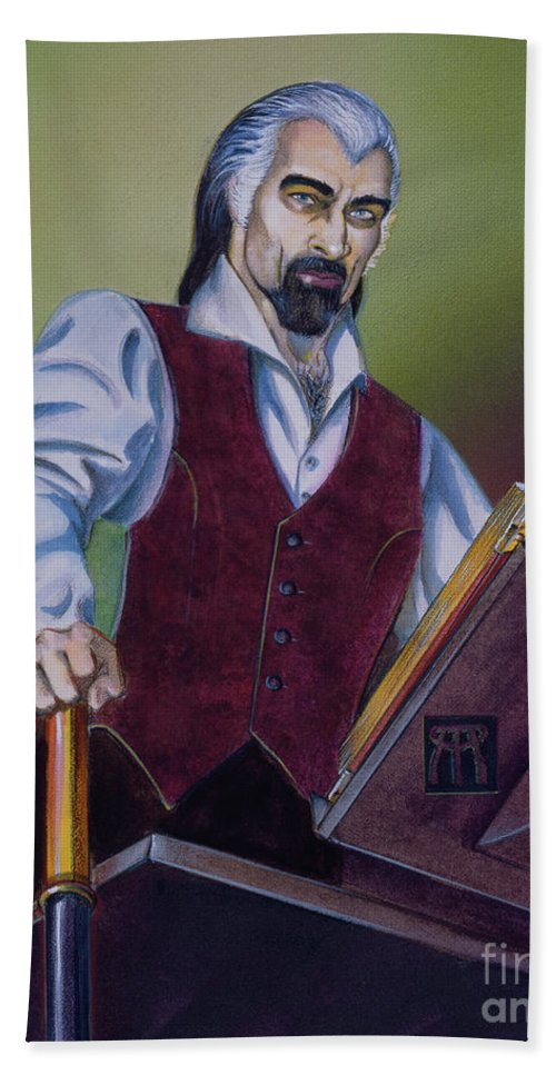 Vampire Beach Towel featuring the painting Rolland Loussarian by Melissa A Benson