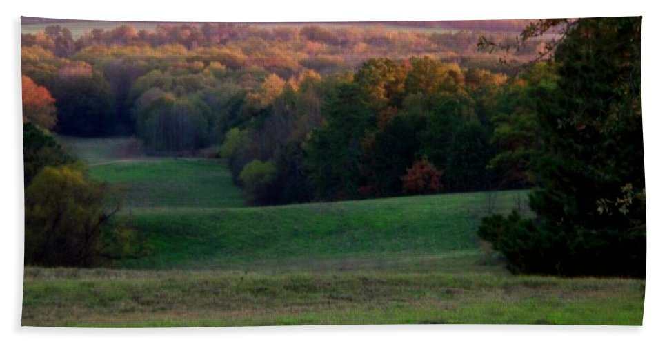 Landscape Beach Towel featuring the photograph Rolling Meadow by Betty Northcutt