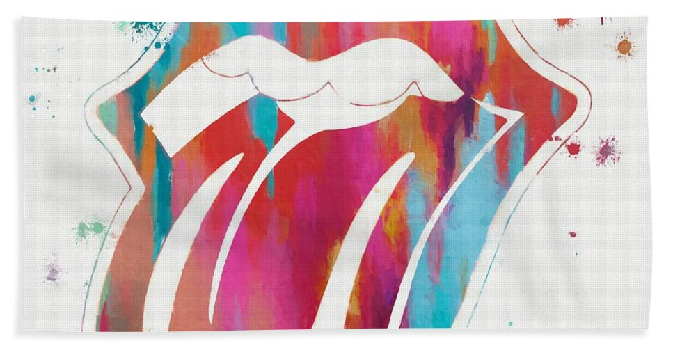 The Rolling Stones Beach Towel featuring the painting Rolling Stones Tongue Paint Splatter by Dan Sproul