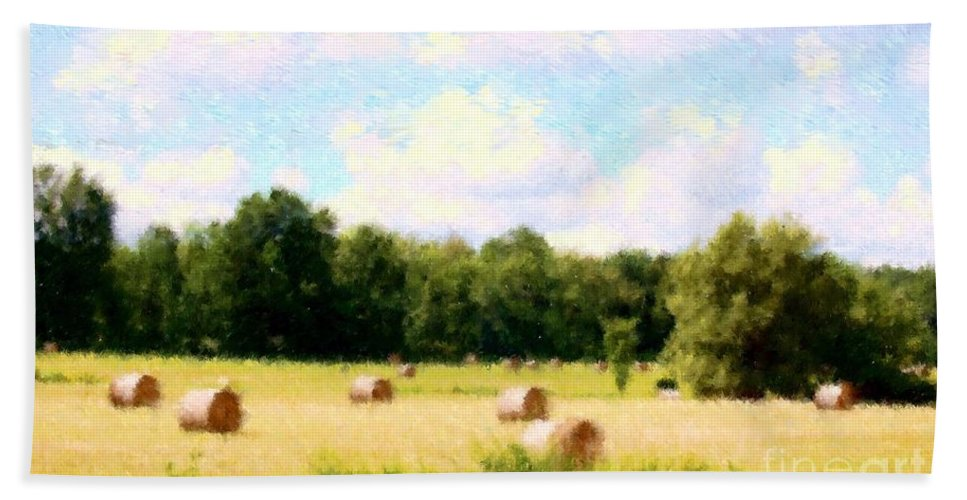 Nature Beach Towel featuring the photograph Rolling The Hay by David Lane