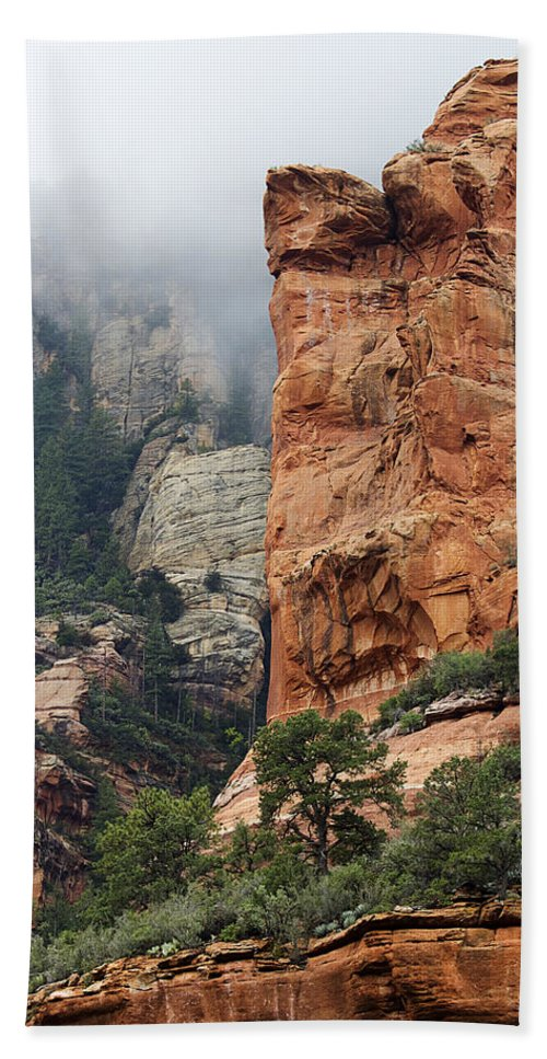 Sedona Beach Towel featuring the photograph Rollings Mists by Phyllis Denton