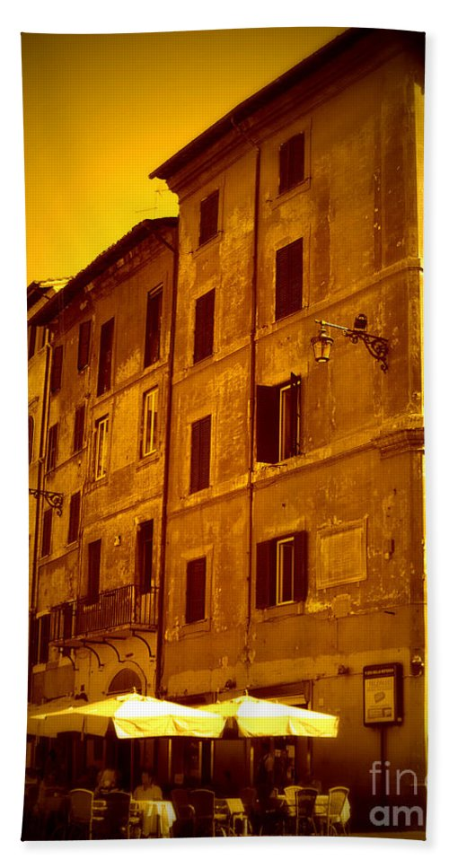 Italy Beach Towel featuring the photograph Roman Cafe With Golden Sepia 2 by Carol Groenen