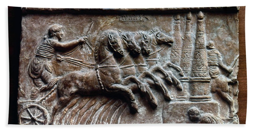 2nd Century Beach Towel featuring the photograph Roman Relief: Chariot Race by Granger