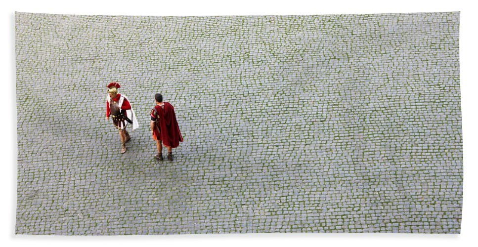 Roman Beach Towel featuring the photograph Roman Soldiers by Munir Alawi