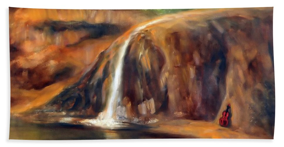 Waterfall Beach Towel featuring the painting Violin by Randy Burns