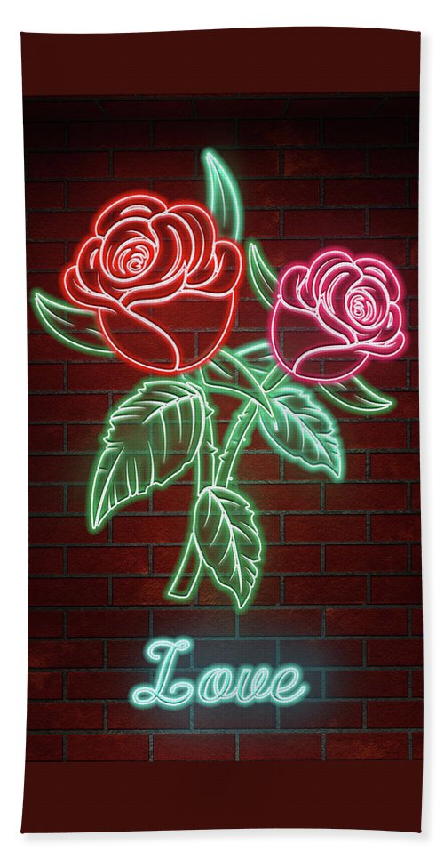 Romantic Roses In Neon Lights Text Love Beach Towel For Sale By