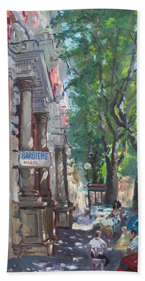 Rome At Barbiere Mario Beach Sheet featuring the painting Rome A Small Talk By Barbiere Mario by Ylli Haruni