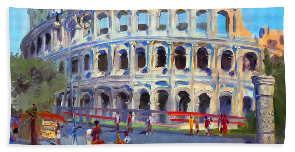 Anfiteatro Flavio Beach Towel featuring the painting Rome Colosseum by Ylli Haruni