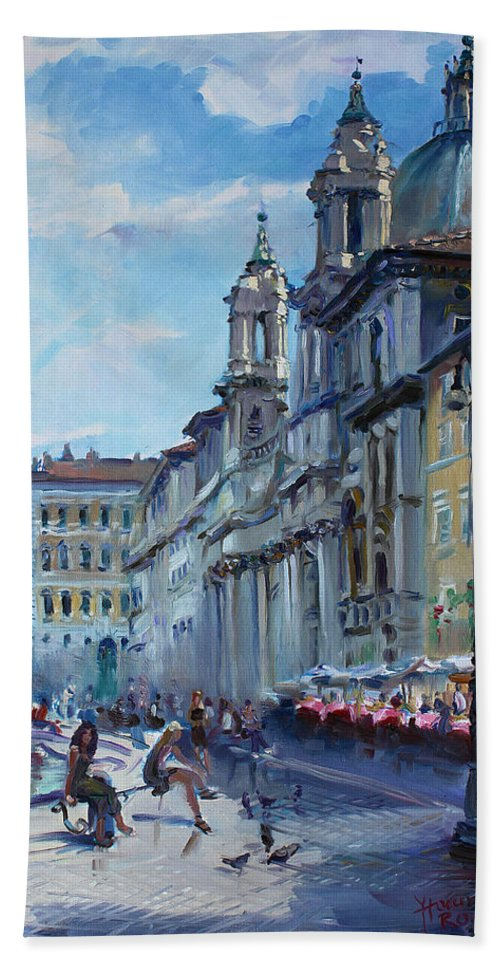Italy Beach Towel featuring the painting Rome Piazza Navona by Ylli Haruni