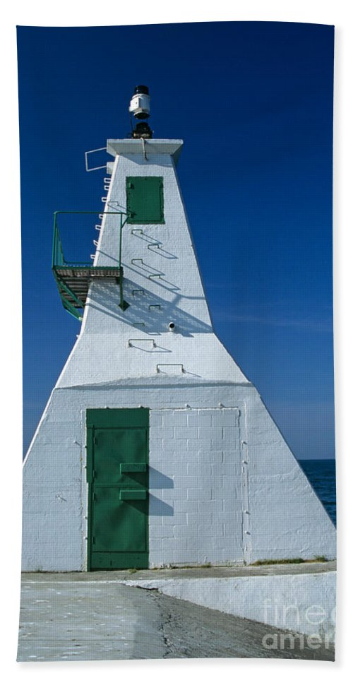 Lake Erie Beach Towel featuring the photograph Rondeau Lighthouse by John Harmon
