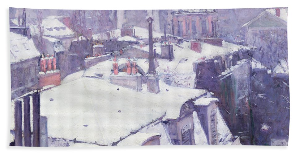 Snow Beach Towel featuring the painting Roofs Under Snow by Gustave Caillebotte