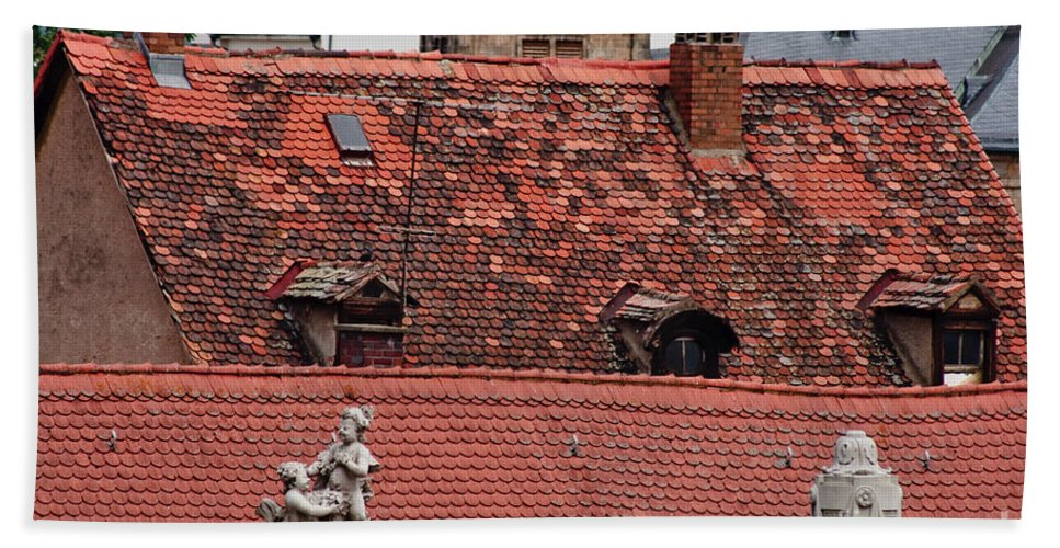 Bamberg Beach Towel featuring the photograph Rooftops Of Bamberg II by Thomas Marchessault