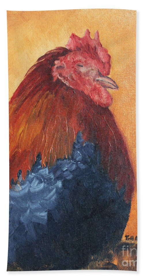 Animal Beach Towel featuring the painting Rooster by Todd Blanchard