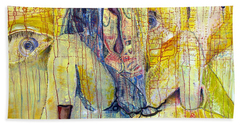 Portrait Beach Towel featuring the painting Roots by Peggy Blood