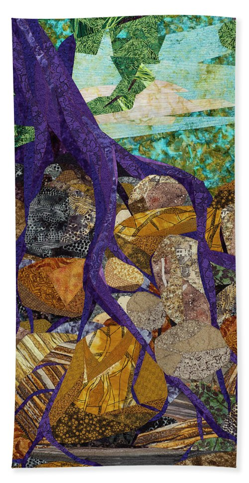 Tree Beach Towel featuring the tapestry - textile Roots Run Deep by Linda Beach