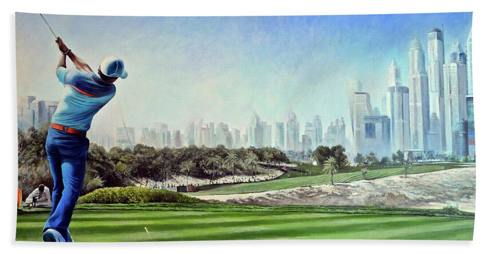 Rory Mcilroy Beach Towel featuring the painting Rory At Ddc Emirates Gc Dubai 8th 2014 by Mark Robinson