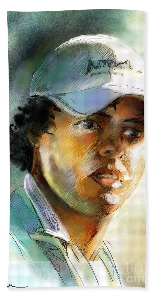 Portrait Painting Golfer Golfart Rory Mcilroy Pga Tour Beach Towel featuring the painting Rory Mcilroy by Miki De Goodaboom