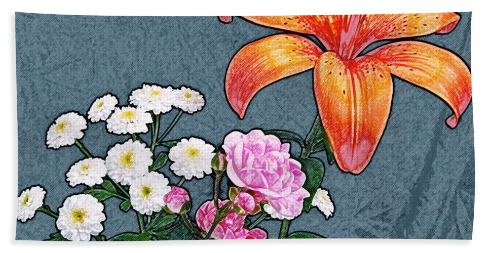 Rose Beach Towel featuring the photograph Rose Baby Breath And Lilly by Michael Peychich