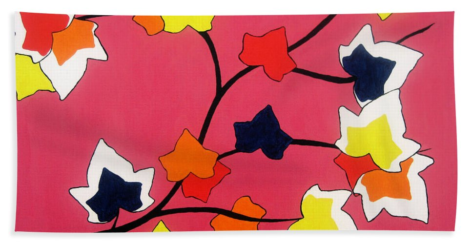 Pink Beach Towel featuring the painting Rose Coloured Glow by Oliver Johnston