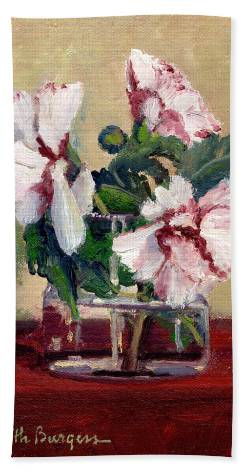 Impressionism Beach Towel featuring the painting Rose Of Sharon by Keith Burgess