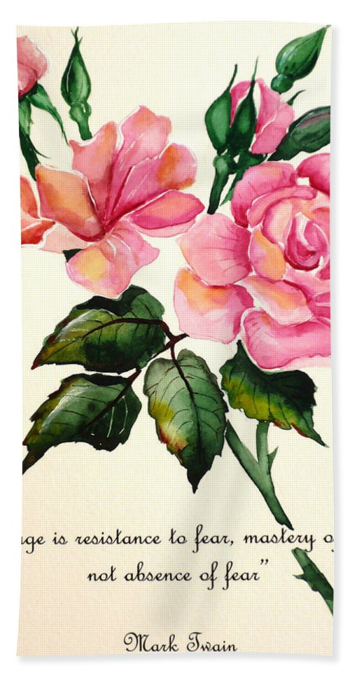 Rose Painting Beach Towel featuring the painting Rose Poem by Karin Dawn Kelshall- Best