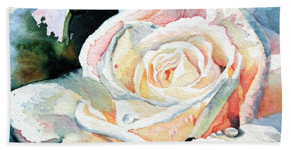 White Rose Beach Towel featuring the painting Roses 6 by Hanne Lore Koehler